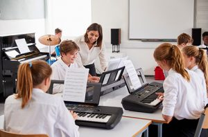 Class playing keyboards